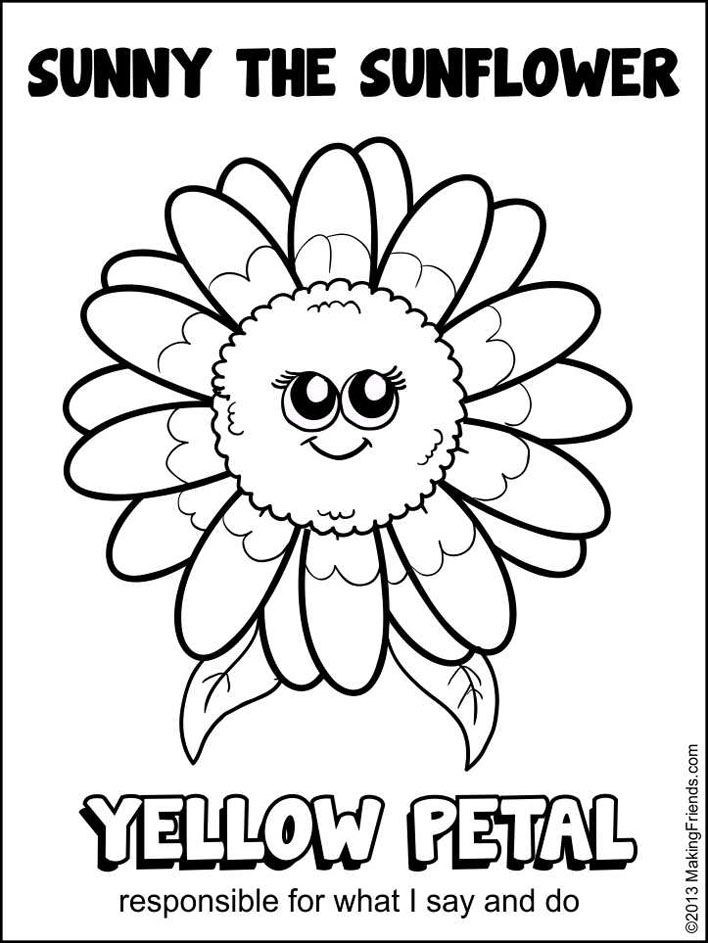 daisy petal coloring page yellow sunny petal girl scout troop 52326